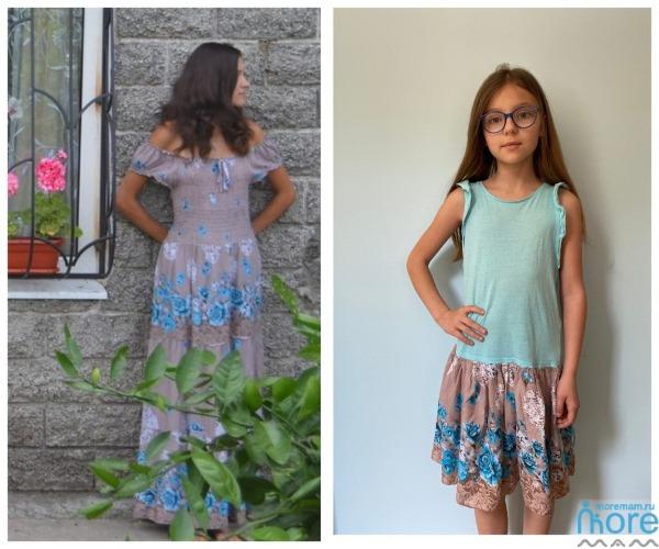 Детское платье из майки и волана от взрослого платья